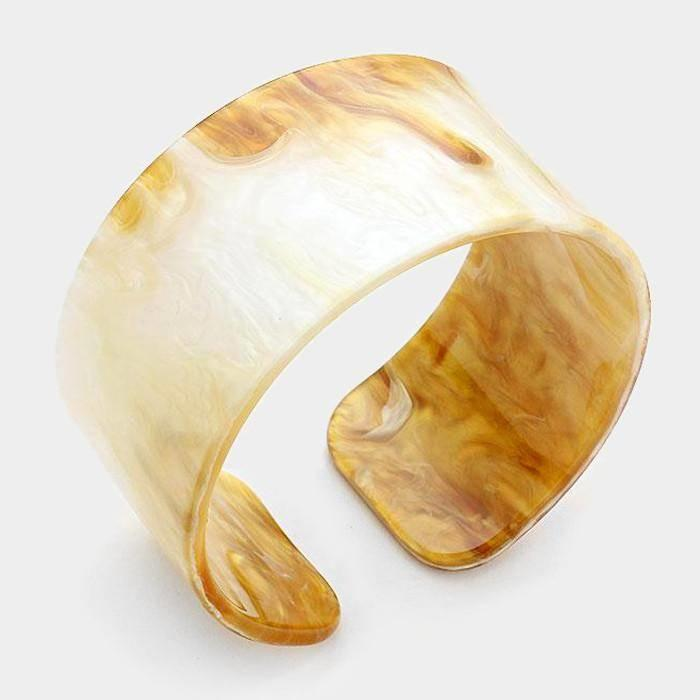 Monogrammed Celluloid Cuff Bracelet- Neutral