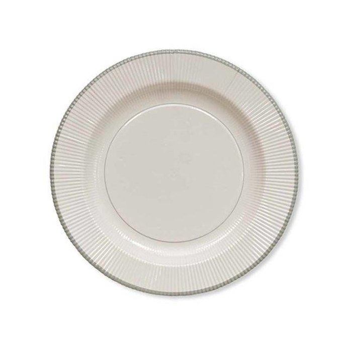 Classic Righe Dinner Plate, White with silver trim