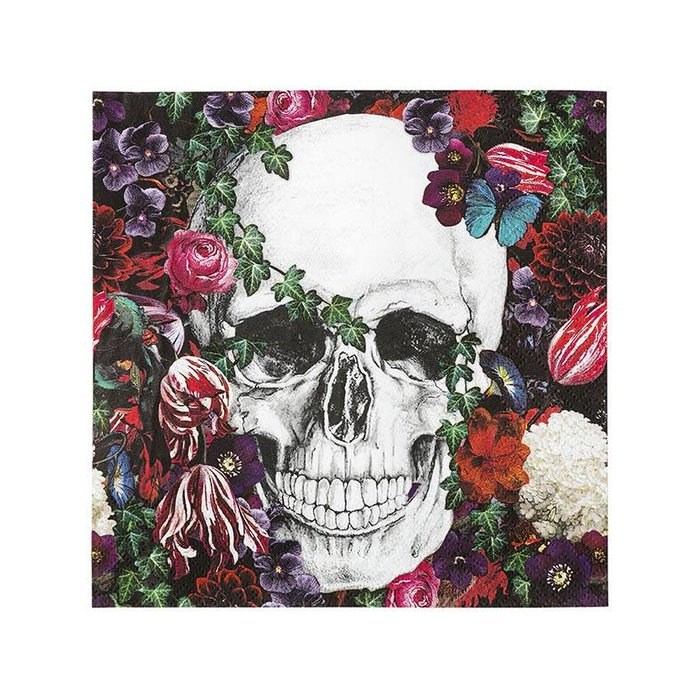 Baroque Skeleton Foiled Paper Luncheon Napkins