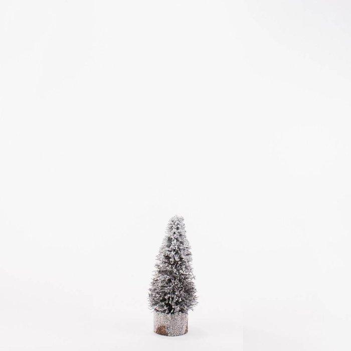 "Village Christmas tree, Natural/ White 10"""