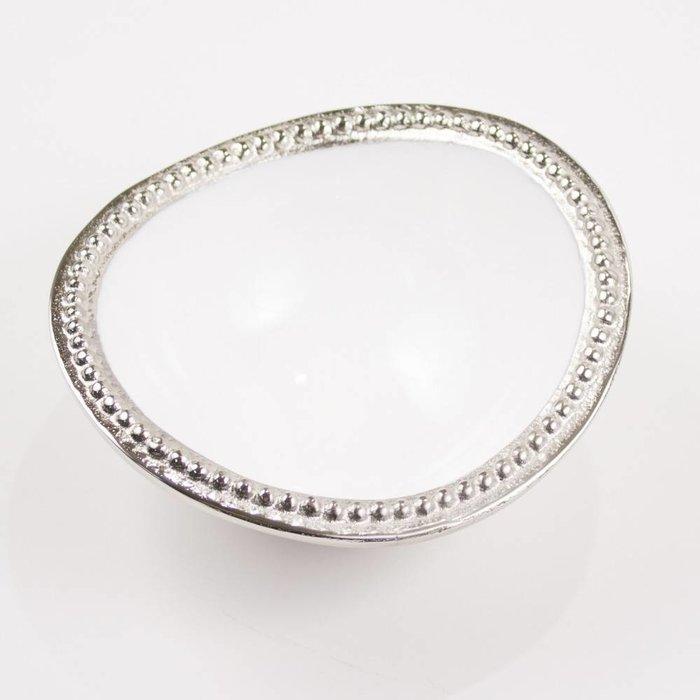 Harborside Dip Bowl, Silver/White 6.25x5.75