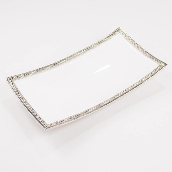 Harborside Rectangle Serving Tray Silver/White 13.5x7