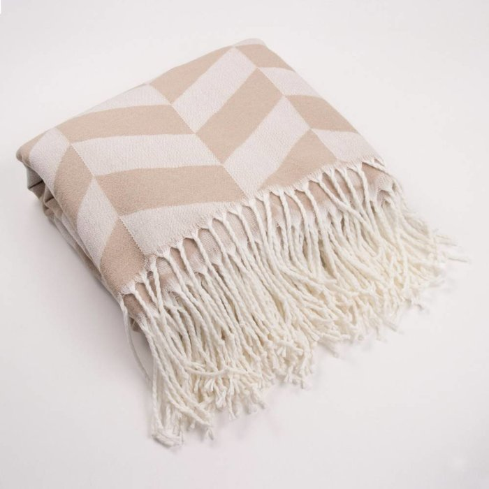 Herringbone Throw with Fringe, Camel/White 52x59