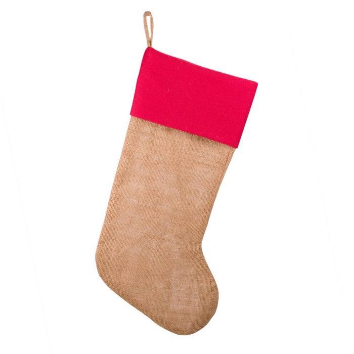 Burlap/ Jute Stocking, Natural/ Red