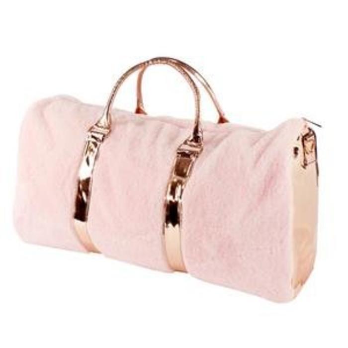 Rose Gold Fur Travel Bag