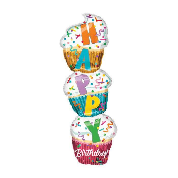 "41"" Stacked Cupcake Mylar Balloon"