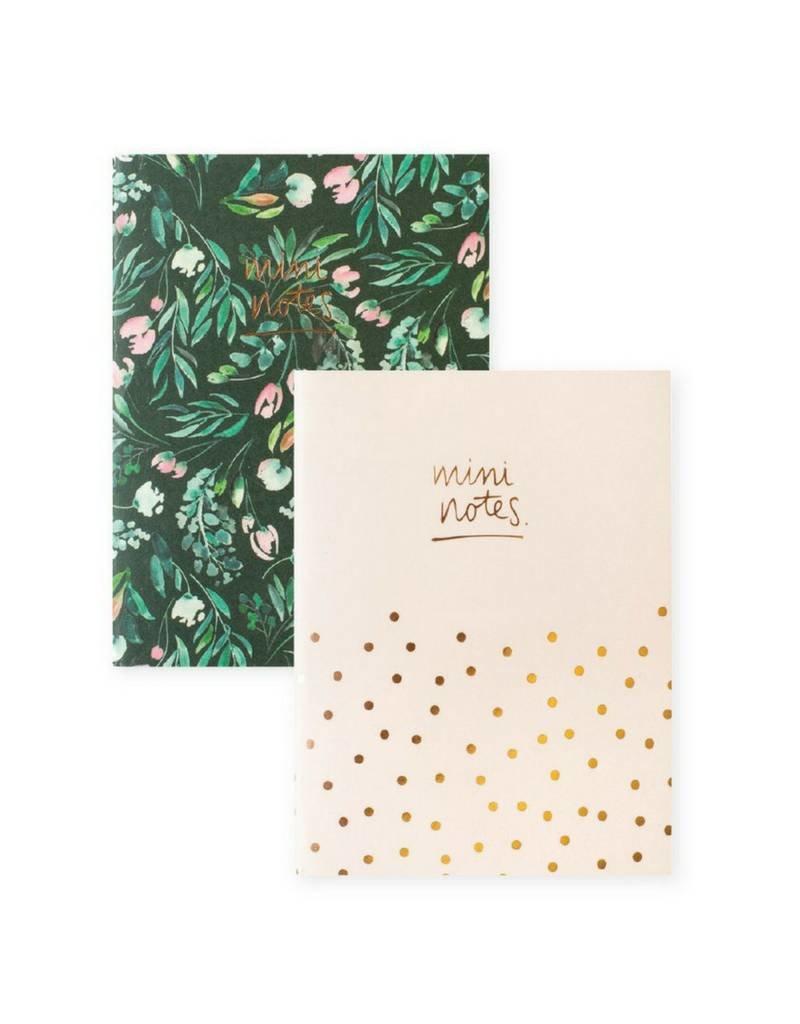 Mini Green Foral Polka Dot Notebook Set by Blushing Confetti