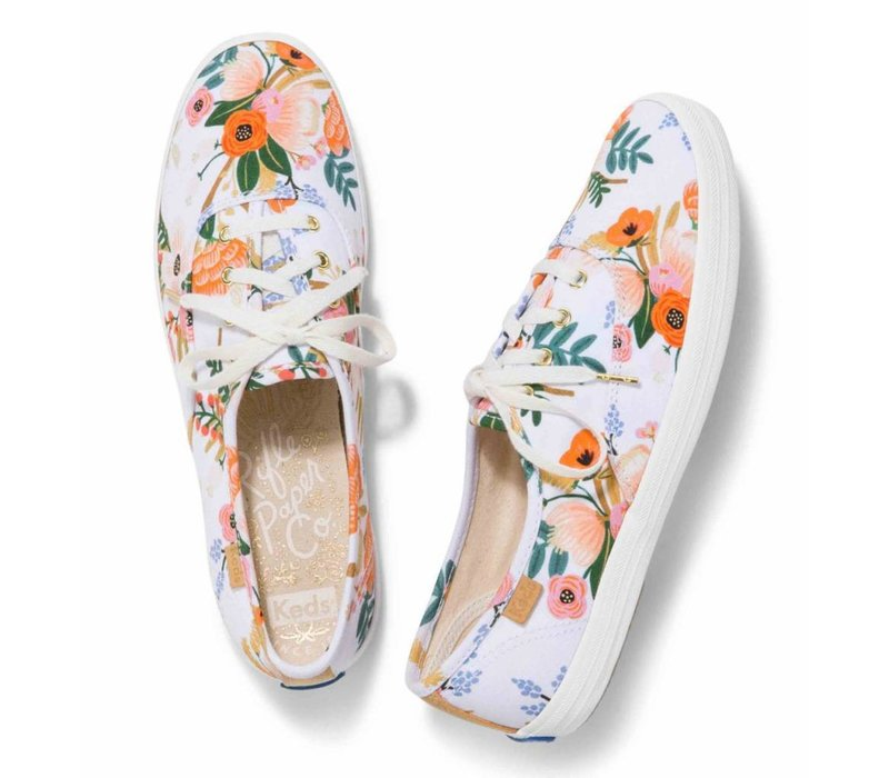 Souliers Keds X Rifle Paper Co. Champion Lively Floral Blanc