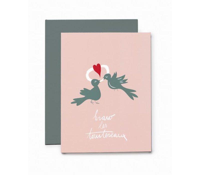 """""""Bravo les tourtereaux"""" Card by Bien à Vous"""