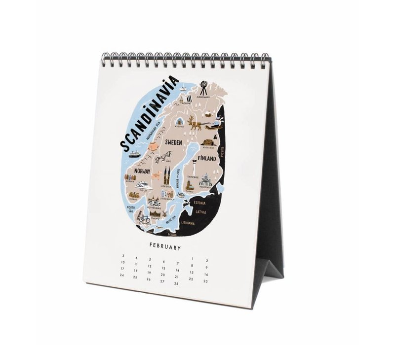 "Calendrier de bureau ""Maps of the world"" par Rifle Paper Co."