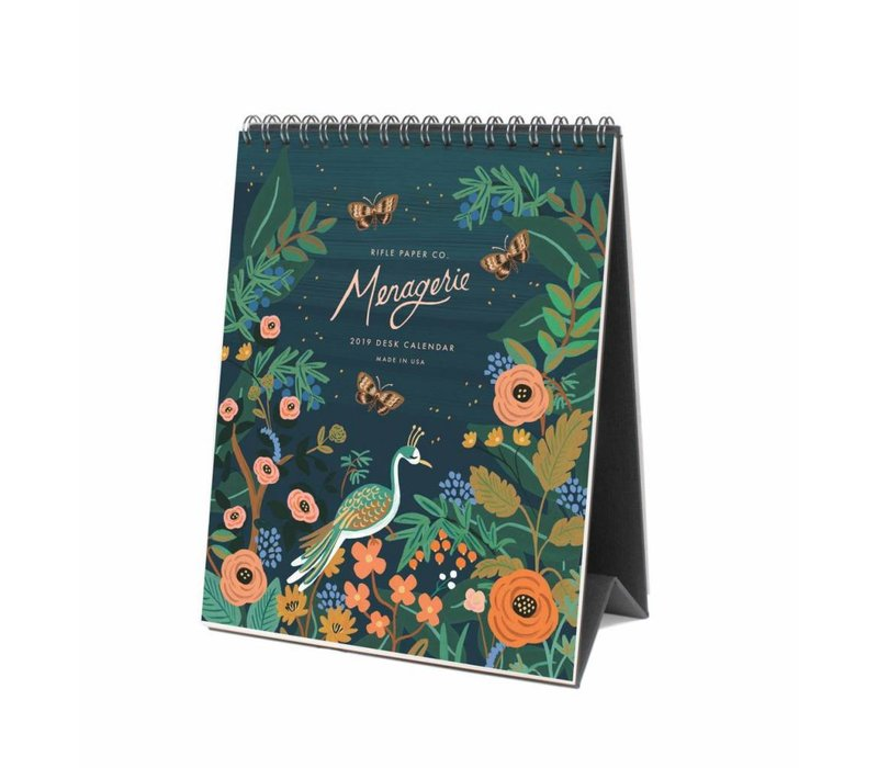 2019 Midnight Menagerie Desk Calendar by Rifle Paper Co.