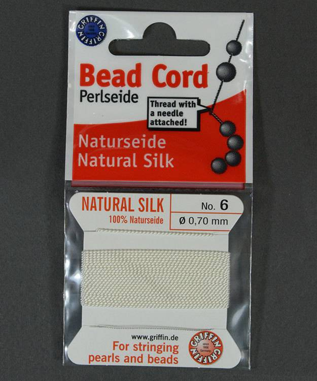 38.01206 = White Silk Beading Cord #6 on Card with Needle