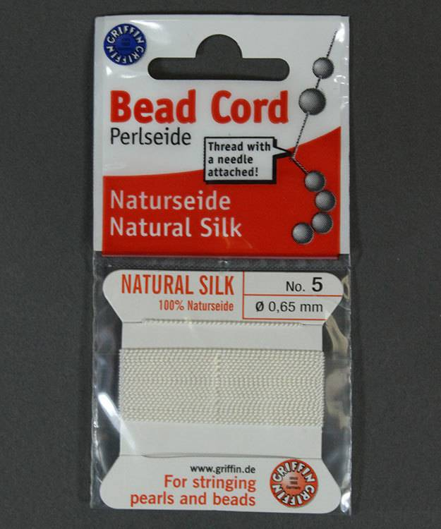38.01205 = White Silk Beading Cord #5 on Card with Needle