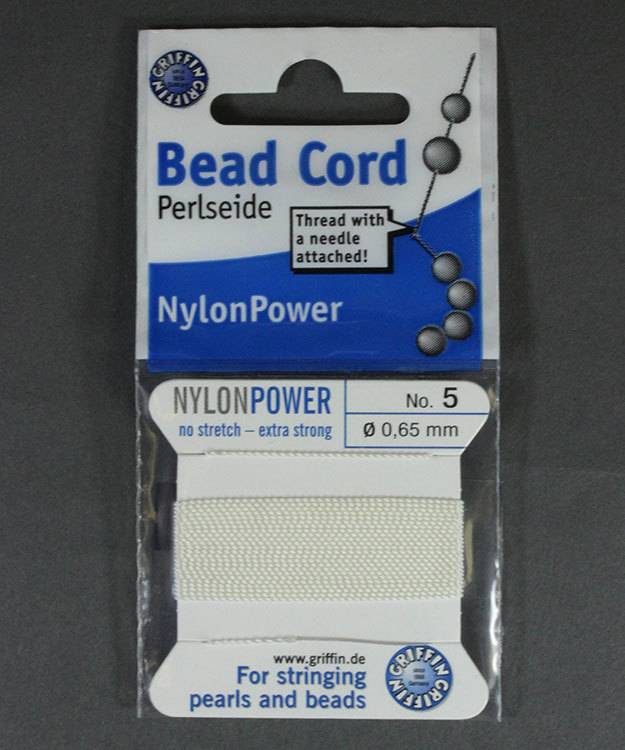 38.0825 = White Nylon Beading Cord #5 on Card with Needle