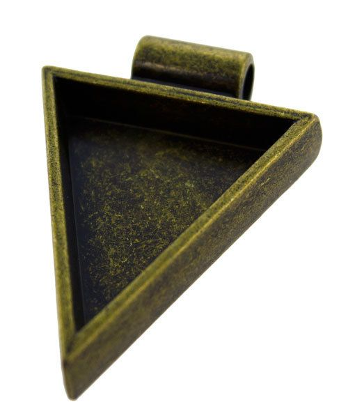 3000GC-44 = Triangle Pendant 1-1/4''x1'' ID Antique Gold Color
