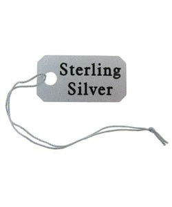 DTA3763S-01 = STRING TAG PLASTIC PRINTED STERLING (1/2''x1'') Bag of 100