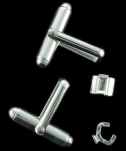 443S-10 = STERLING/FINE SILVER EMBEDDABLE CUFFLINK SET (1pair)
