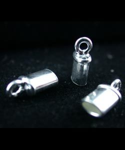 500S-31 = STERLING SILVER - CHAIN END CAP TUBE with RING 1.7x3.4mm ID (EACH