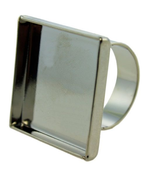 3000SC-52 = Square Bezel Ring 15/16''x15/16'' ID Silver Color