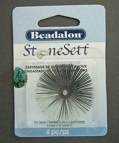 3216SP = Stonesett Star Extra Large Round by Beadalon, 25 spokes, 40mm fits 9.0mm+ cabachons, 4pc