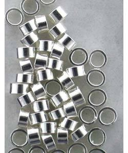 585S-49 = STERLING SILVER-CRIMP TUBE-1.1x2mm with 1.3mm HOLE (Pkg of 50)
