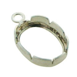 251S-01 = Sterling Silver Snap In Bezel Back Set 8x6 Oval with 1 Ring (Pkg of 5)