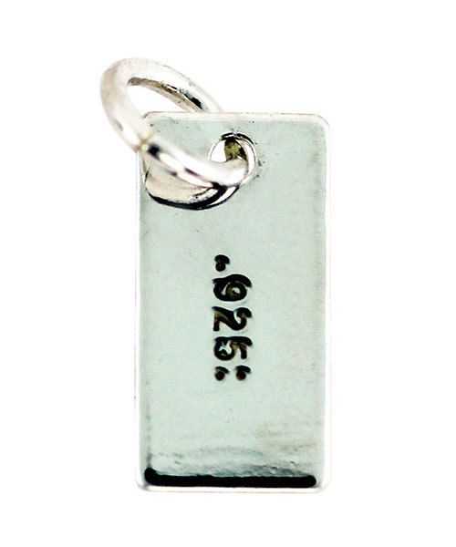 208S-13 = Sterling Silver Chain Tag Stamped 925 Rectangular 4 x 8mm with Ring (Pkg of 10)