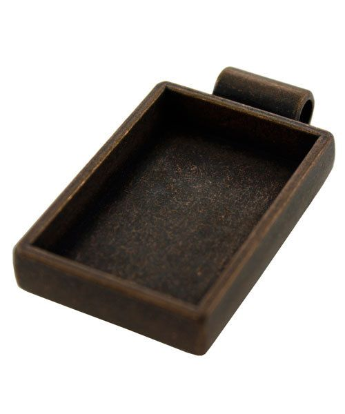 3000CC-41 = Rectangular Pendant 1-1/2''x3/4'' ID Antique Copper Color