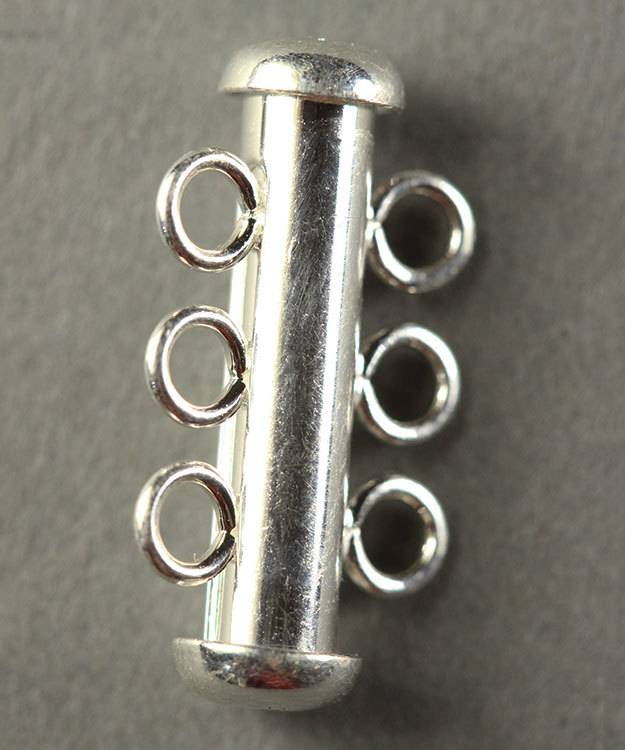 5000S-03 = Polished Tube Clasp with 3 Rings Sterling Silver 4.3x22mm (Each)