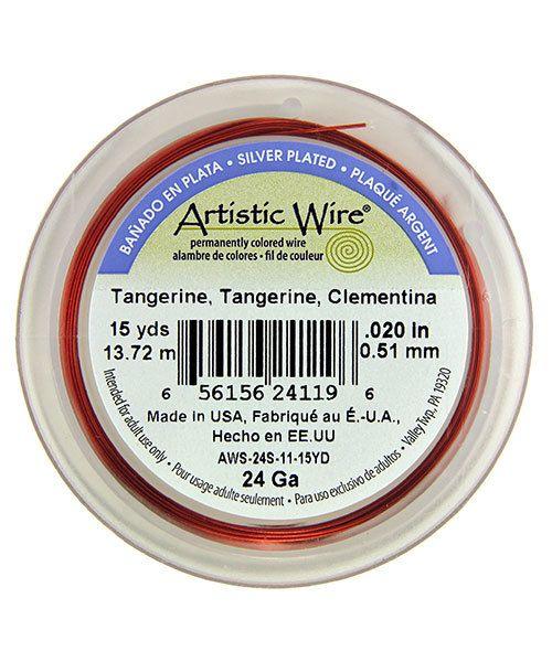 WR36124 = Artistic Wire Spool SP Tangerine 24ga 15 YARDS