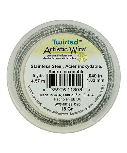 WR53818 = Artistic Wire Retail Spool Stainless Steel Twisted 18ga (5 yds)