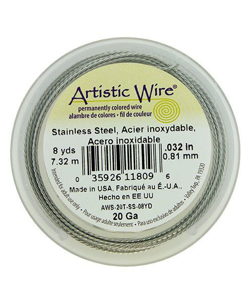 WR53820 = Artistic Wire Retail Spool Stainless Steel Twisted 20ga (8 yds)