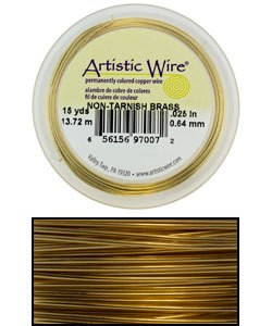 WR33626 = ARTISTIC WIRE RETAIL SPOOL TARNISH RESISTANT BRASS 26GA  30YARDS