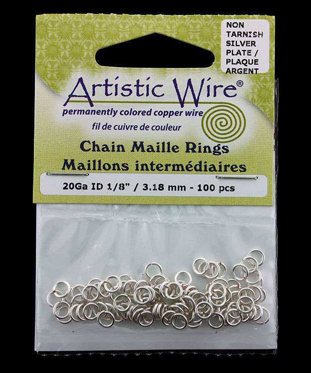 900AWS-13 = Artistic Wire Tarnish Resistant Silver Color Jump Ring 3.1mm ID (1/8'') 20ga