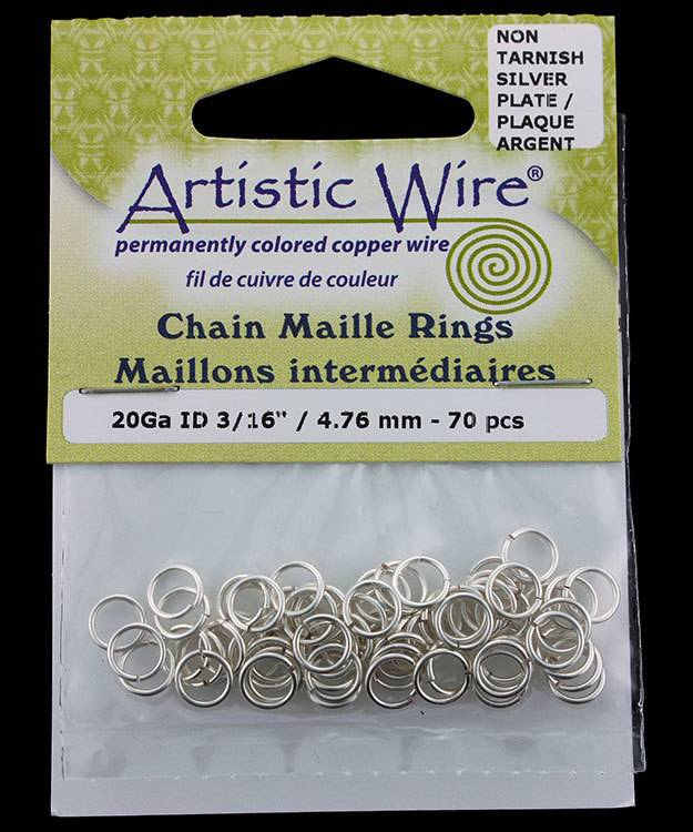 900AWS-17 = Artistic Wire Tarnish Resistant Silver Color Jump Ring 4.7mm ID (3/16'') 20ga