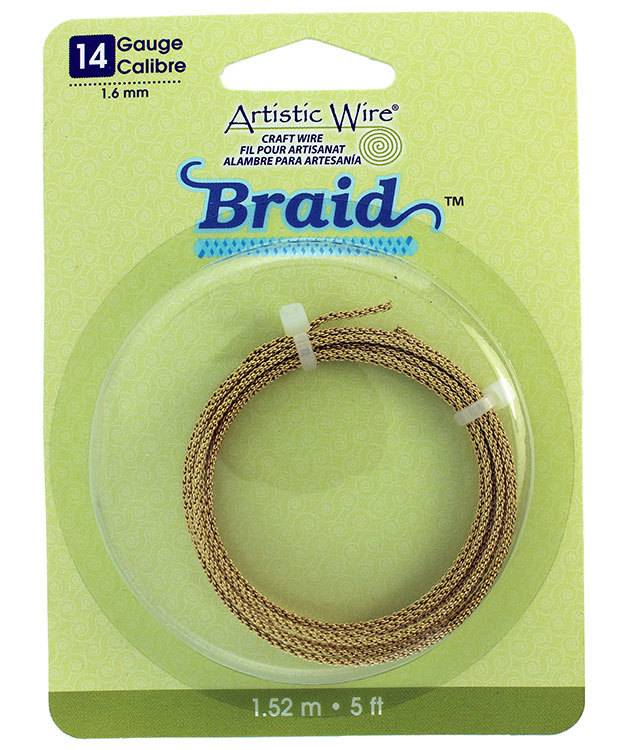 WR48312 = Braided Tarnish Resistant Brass Color Artistic Wire 1.6mm 5 Foot Coil