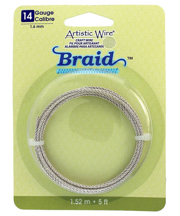 WR48310 = Braided Tarnish Resistant Silver Color Artistic Wire 1.6mm 5 Foot Coil
