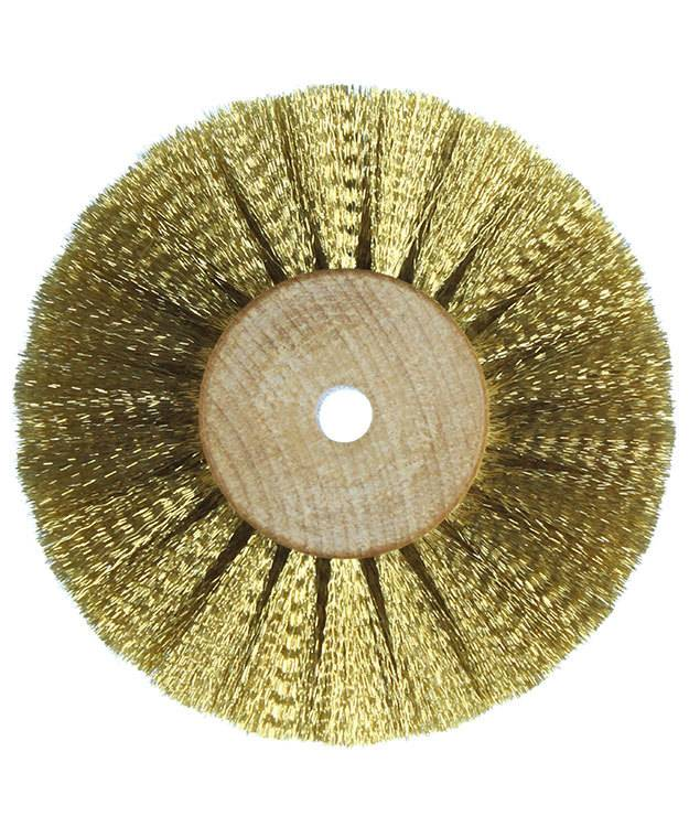 16.443 = Brass Crimped Wire Wood Hub Brush 3 Rows 3'' dia.
