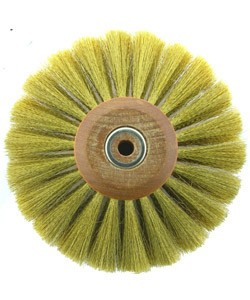 16.446 = Brass Crimped Wire Wood Hub Brush 4 Rows 4'' dia.