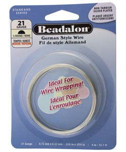 WR5621S = Beadalon German Style Wire 21ga 1/2 RD SILVER PLATED 4 METER COIL