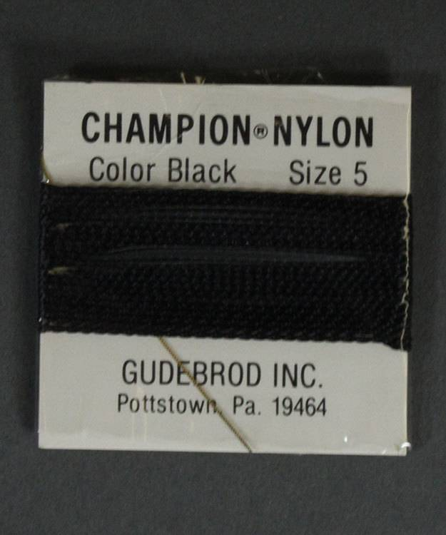 38.0705 = Black Nylon Beading Cord #5 on Card with Needle