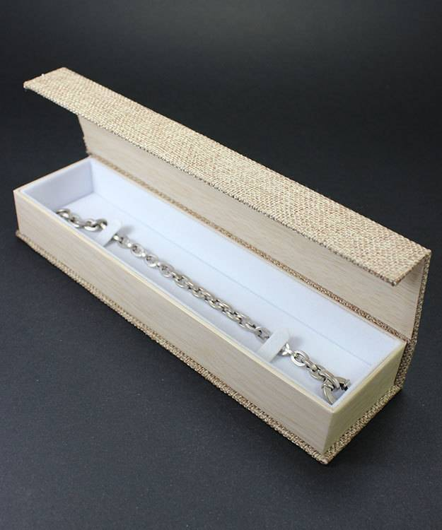 DBX3053 = Burlap Deluxe Magnetic Bracelet/Watch Box 8-3/4'' x 2-1/4'' x 1'' (Each)