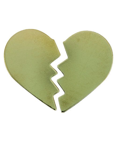 MSBR70524 = Brass Shape - 2 Part Heart 15.5 x 25.5mm (Pkg of 6)