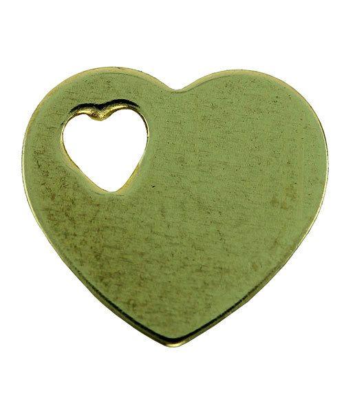 MSBR70924 = Brass Shape - Heart with Cutout Heart 11 x 12mm (Pkg of 6)