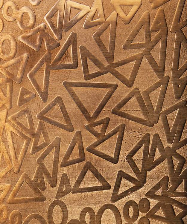 CSP4018 = Patterned Copper Sheet ''Ovals & Triangles''  2'' x 6'' 18ga