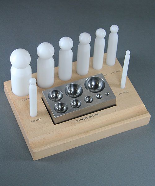 DA2502 = Nylon Dapping Punch Set with Steel Block  in a Wood Base