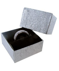 DBX3801S = Silver Foil Square Ring Box with Black Foam (Dozen)