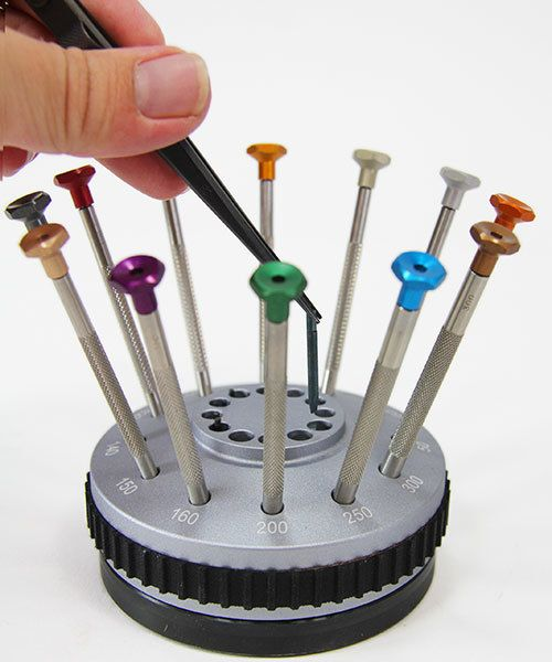 sd1201c screwdriver 12pc set in rotating stand horotec swiss fdj tool. Black Bedroom Furniture Sets. Home Design Ideas