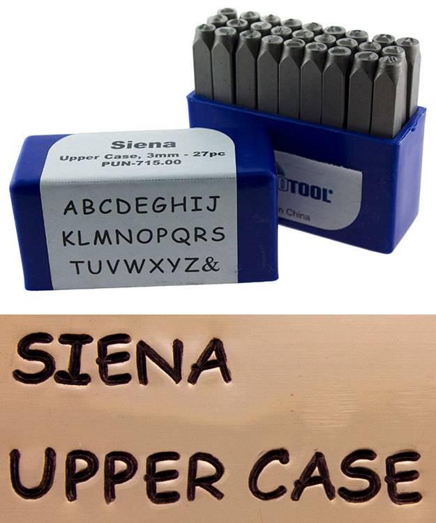PN991 = Letter Punch Set 3mm SIENA UPPER CASE 27pcs