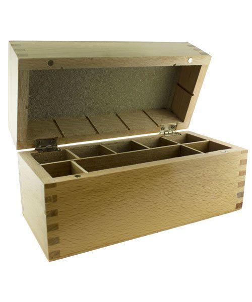 56.750 = GOLD TESTING BOX FOR 5 BOTTLES & STONE